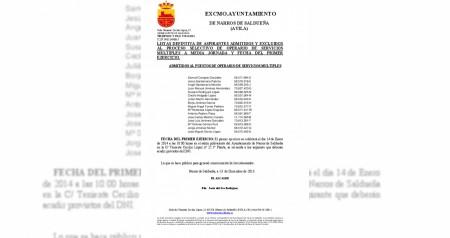 Lista defintiva admitidos operario primer examen