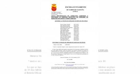 Listado aspirantes operario servicios multiples